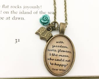 Oscar Wilde Quote. Literature Necklace. Vintage Style Necklace.
