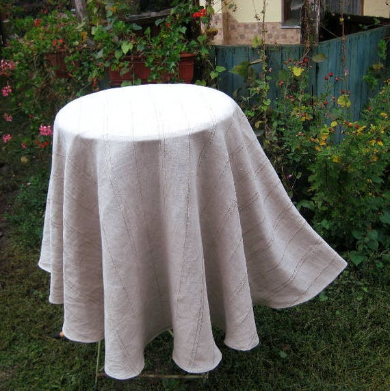 Modern Round Linen Gray Tablecloth, Washed Wrinkled Flax Table Cloth,  Striped Burlap Lace Cloth