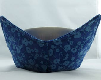 Set of 2 Blue two tone with flowers fabric Handmade Microwave Bowl Pot Holder Cozy for hot or cold foods