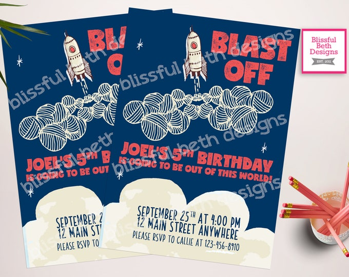 ROCKET BIRTHDAY INVITATION, Blast Off Birthday, Out of This World Birthday, Outer Space Invitation, Rockets, Blast Off, Rocket Birthday