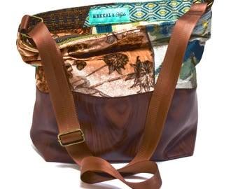 Large Vegan Crossbody Bag - Woodgrain and Vintage Floral Upholstery