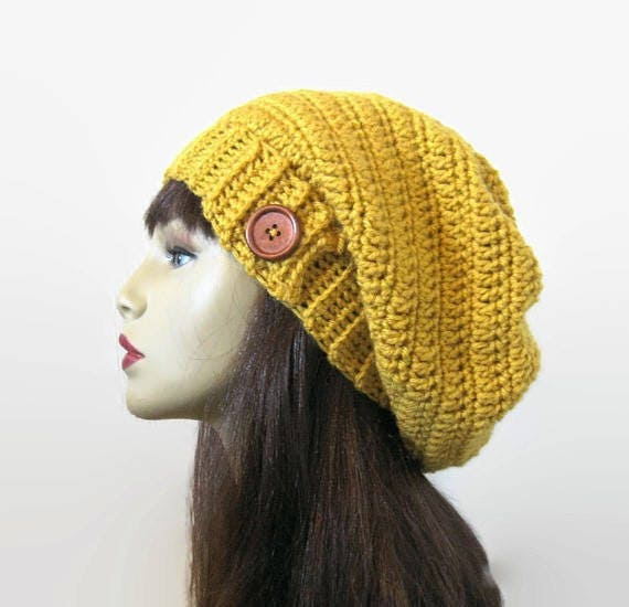 Slouchy mustard hat with Button Gold Crochet Hat Yellow beanie Mustard Slouch Hat Gold knit beanie Mustard slouchy hat  Gold Slouch Cap