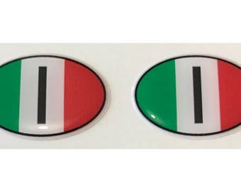 "Italy I Domed Gel (2x) Stickers 0.8"" x 1.2"" for Laptop Tablet Book Fridge Guitar Motorcycle Helmet ToolBox Door PC Smartphone"