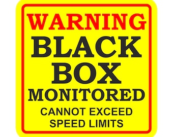Black Box Monitored Warning Sticker for Bumper Car Truck Laptop Book Fridge Guitar Motorcycle Helmet ToolBox Door PC Boat