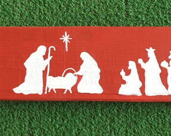 Nativity Rustic Sign in Red