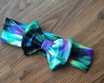 70% Off Purple Strokes Stretch Bow Headband