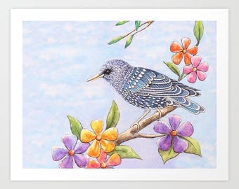 Print Starling Bird & Flowers Watercolor //art,nature,painting,bohemian,boho,birds,bird art,botanicals,animal art,blue,purple,colorful,happy
