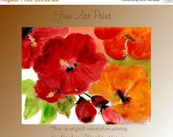 SALE Fine Art Print  Hibiscus Heaven from an original watercolor painting by Nicolette Vaughan Horner