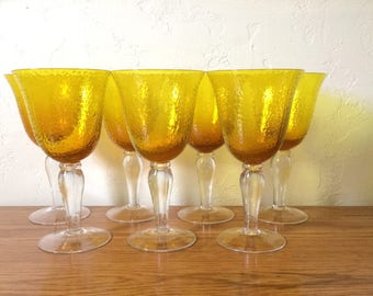 Vintage Gold Wine Glasses Set Of 7, Yellow Gold Water Goblets, Citrine Amber Stemware, Textured Pebbly