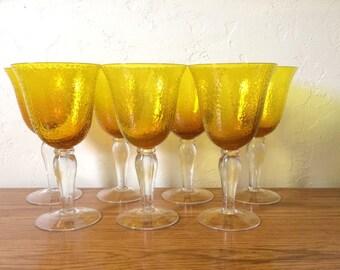 vintage gold wine glasses set of 7 yellow gold water goblets citrine amber stemware