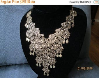 On Sale Vintage Designer Signed Vendome Bib Necklace 60's 70's Retro Rockabilly Mad Men Mod Old Hollyood Glam Black Tie Jewelry Martini Merm