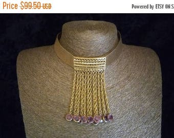 Now On Sale Rare Designer Goldette Bib Runway Statement Choker Necklace 1960's  Hollywood Regency Purple Glass Vintage Collectible Jewelry