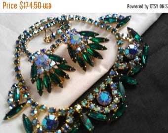 Now On Sale Juliana D&E Aurora Borealis Skinny Navette Collar Necklace and Earrings Set - Vintage Statement Rhinestone Demi - 60's Jewelry