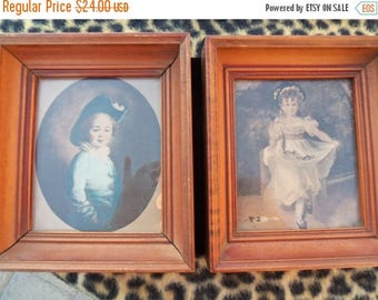 Now On Sale Vintage Pictures Set of 2 Victorian Home Decor Wall Hangings 1940's 1960's Collectibles