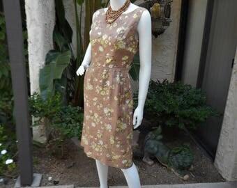 Vintage 1960's Brown Floral Dress - Size 6