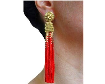 ON SALE Gold / RED beaded tassel Earrings with Clip ons or sterling Silver stud / high quality handmade earrings / Choose your length