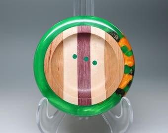 Handmade Segmented Wooden Ring Dish Orange Brown Embedded in Pearl Green Resin Inlay Wedding Engagement, Housewarming Gift Collectible Art