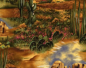 DESERT VIEW Michael Miller Fabrics quilters cotton fabric by the yard cactus, southwest, mesa, CX0415-Brow