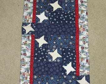 20 % off thru 8/20 STARRY SNOWY NIGHT friendship stars quilted table runner pattern WInter January Year one