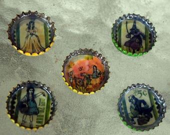 Wizard of Oz Bottle Cap Magnet Set of 5