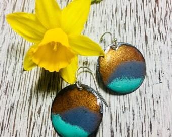 Landscape Earrings ~Mountain Earrings~ Enamel Earrings ~Abstract Mountain Earrings