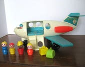 Vintage Toy - Fisher Price - Jet Liner - Airplane - 1970's - Little People - Retro Toy Figure Accessory - Photo prop
