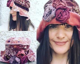 Velvet Hat- cloche hat-Festival Hat- fairy hat- vintage hat-flower hat-mori - boho hat- lagenlook- upcycled- eco fashion-steampunk hat