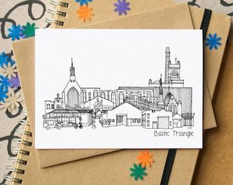 Baltic Triangle Landmarks Greetings Card - Baltic Triangle Liverpool Skyline Art - Baltic Liverpool Greetings Card - Baltic blank card
