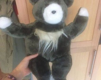 Large grey furry hairy vintage teddy