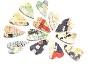 "Vintage Patchwork Heart Appliques, 2"" Cutter Quilt Primitive Hearts, Prim Fabric Embellishments 4 Crafting Cardmaking Valentine's Day"