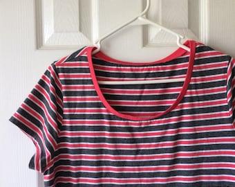 Red Ringer Tshirt Dress Striped Gray Grey White Stripes Tee Shirt Mini L XL Plus