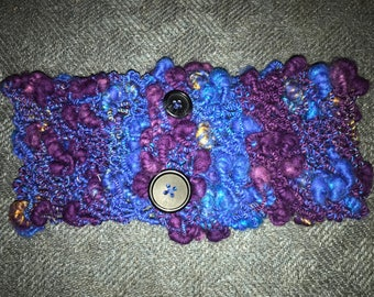 Hand spun, hand knitted cowl neck.