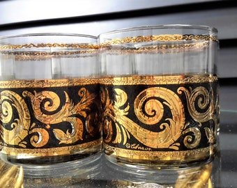 Culver Barware Glasses Ebony Baroque Set of 8 22K Gold Black Scroll Old Fashioned Mid Century Wedding Gift Exceptional Condition