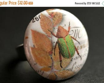 SUMMER SALE Green Beetle Ring. Bug Ring. Nature Ring. Insect Ring. Entomology Ring. Adjustable Ring. Silver Ring. Graphic Button Ring. Handm