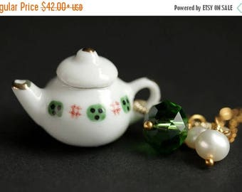 SUMMER SALE Porcelain Teapot Necklace. Green and Red Tea Pot Necklace with Green Crystal and Pearl Charms. Green Necklace. Gold Necklace.