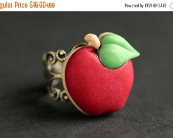 SUMMER SALE Apple Ring. Red Ring.  Fruit Ring.  Red Apple Ring. Food Ring. Adjustable Ring. Apple Jewelry. Bronze Ring. Food Jewelry. Handma