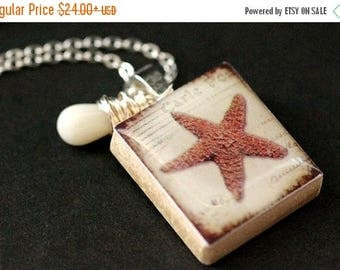 BACK to SCHOOL SALE Starfish Necklace. Beach Necklace. Scrabble Tile Necklace with White Coral Teardrop. Handmade Jewelry.
