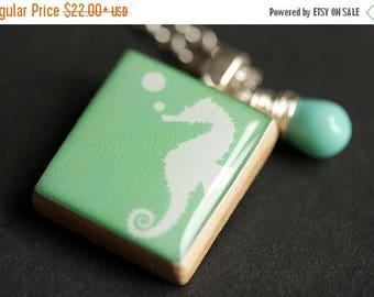BACK to SCHOOL SALE Seahorse Necklace. Aqua Necklace. Scrabble Tile Necklace with Mint Green Teardrop. Scrabble Pendant. Handmade Necklace.