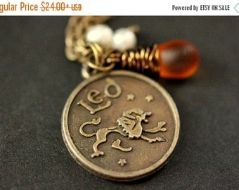 EASTER SALE Leo Astrology Necklace. Zodiac Necklace with Glass Teardrop and Fresh Water Pearl. Leo Horoscope Necklace. Handmade Jewelry.