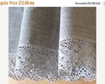 """Round Tablecloth 60"""" in diameter Tablecloth Lace Tablecloth Linen Tablecloth Burlap Tablecloth Prewashed Linen Lace"""