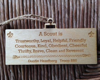 Ornament- Scout Law - Laser Engraved