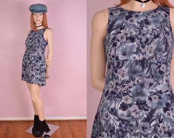90s Floral Print Mini Dress/ US 7-8/ 1990s