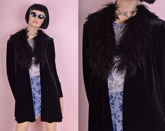 90s Black Velvet Feather Collar Cardigan/ Medium/ 1990s/ Jacket