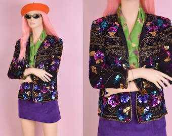90s Colorful Sequin and Beaded Floral Pattern Jacket/ Petite Small/ 1990s
