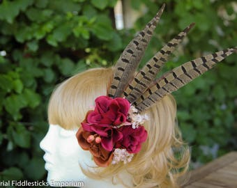 Bordeaux and Brown Flower Hairclip with Pheasant Feathers - Steampunk - Handmade - One of a Kind