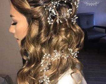 Bridal hair vine, Wedding hair vine, Bridal headband, wedding wreath, pearl crystal hair jewelry, pearl headband, wedding hair accessory