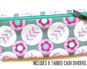 Pink and gray envelope system cash budget wallet with 6 tabbed dividers