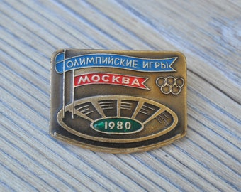 "Vintage Soviet Russian badge,pin.""Moscow Summer Olympics 1980"""