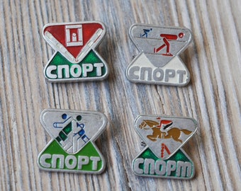 Set of 4. Vintage USSR SPORT badges,pins.