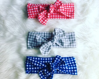 Gingham Baby knotted Headbands / Baby turban Headbands / Baby Girl Head Wraps / Baby Headwrap / Headbands for Baby Girls / Baby Bow Headband